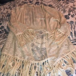 Off white very intricate cardigan with tassels